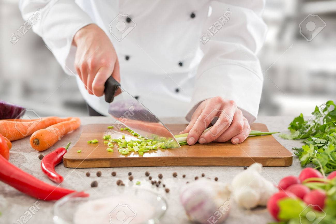 chef cooking food kitchen restaurant cutting cook hands hotel man male knife preparation fresh preparing concept - stock image Stock Photo - 72092284