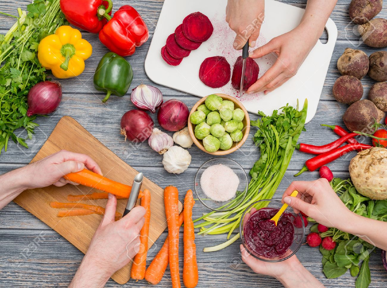 cooking food kitchen cutting cook hands man male knife preparation fresh preparing hand table salad concept - stock image - 72952395