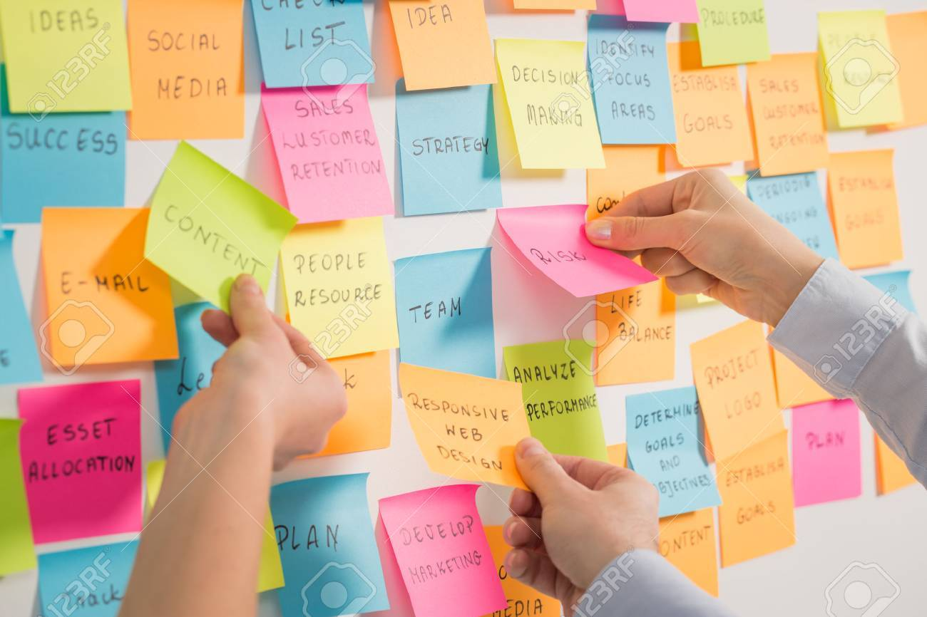 brainstorming brainstorm strategy workshop business note notes stickyconcept - stock image Stock Photo - 72952393