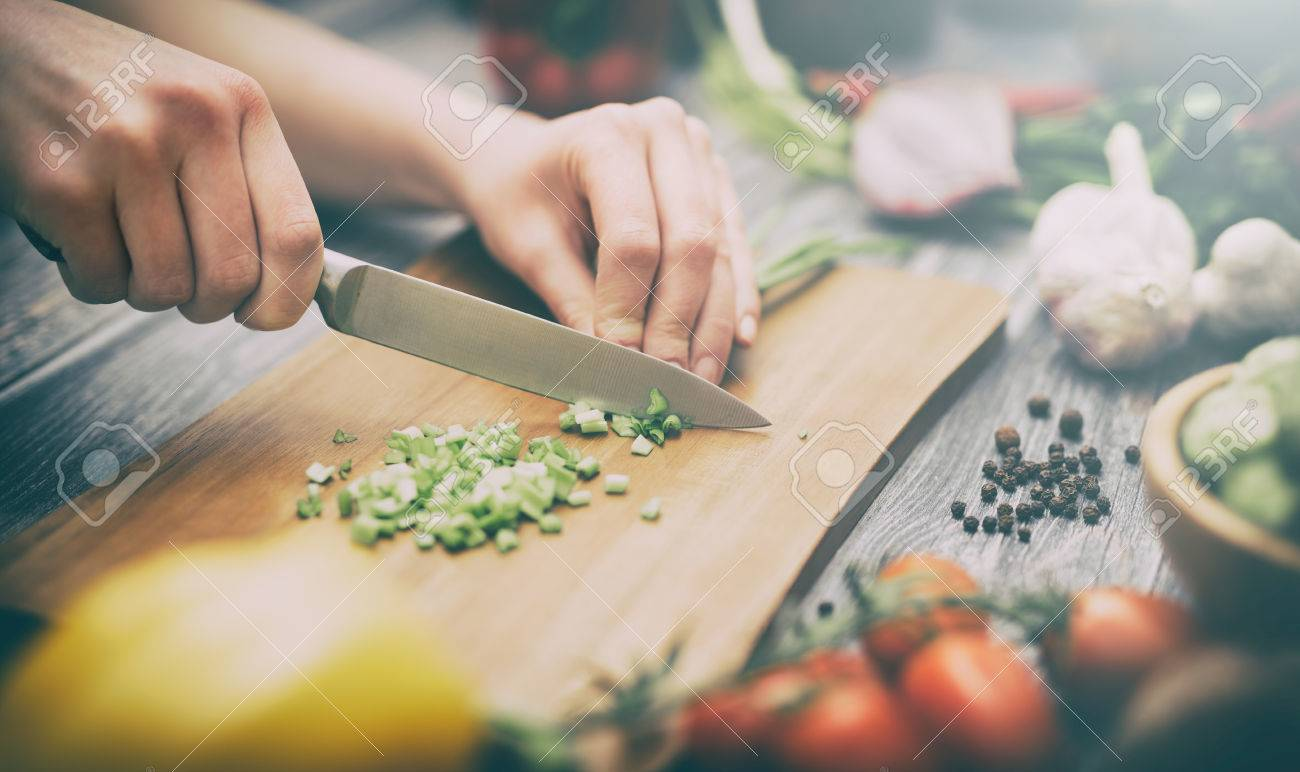 cooking healthy lifestyle meal prepare food women life dinner vegan kitchen live diet hands salad chef happy concept - stock image Stock Photo - 73650724