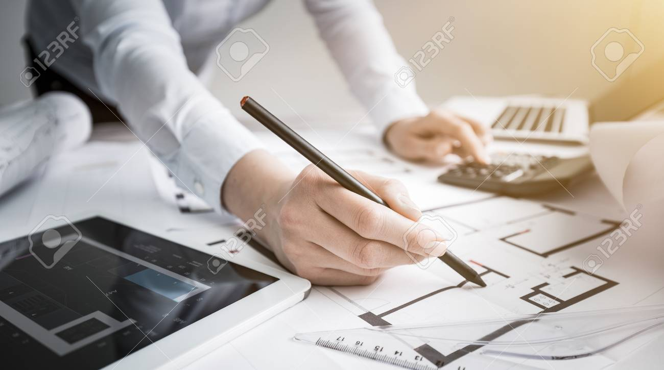 Architect architecture drawing project blueprint office business architect architecture drawing project blueprint office business working architectural construction design designer ruler table workplace concept malvernweather Images