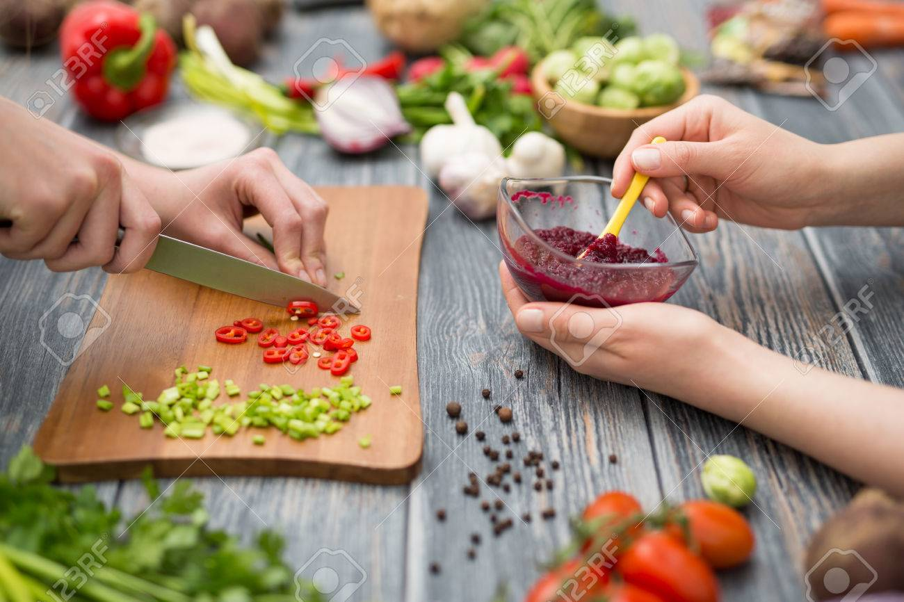 cooking food kitchen cutting cook hands man male knife preparation fresh preparing hand table salad concept - stock image - 73650702