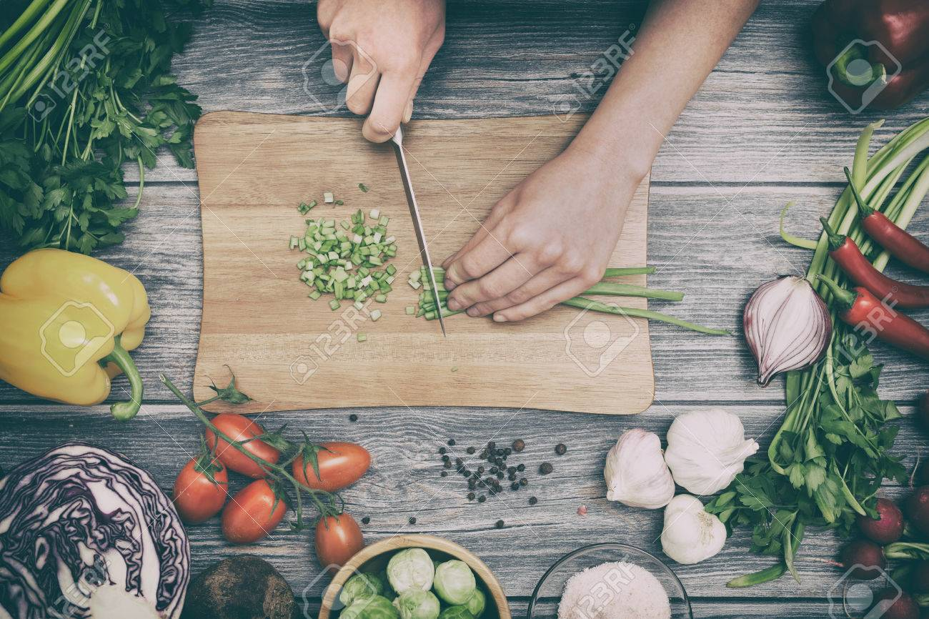 cooking healthy lifestyle meal prepare food women life dinner vegan kitchen live diet hands salad chef happy concept - stock image Stock Photo - 73650921