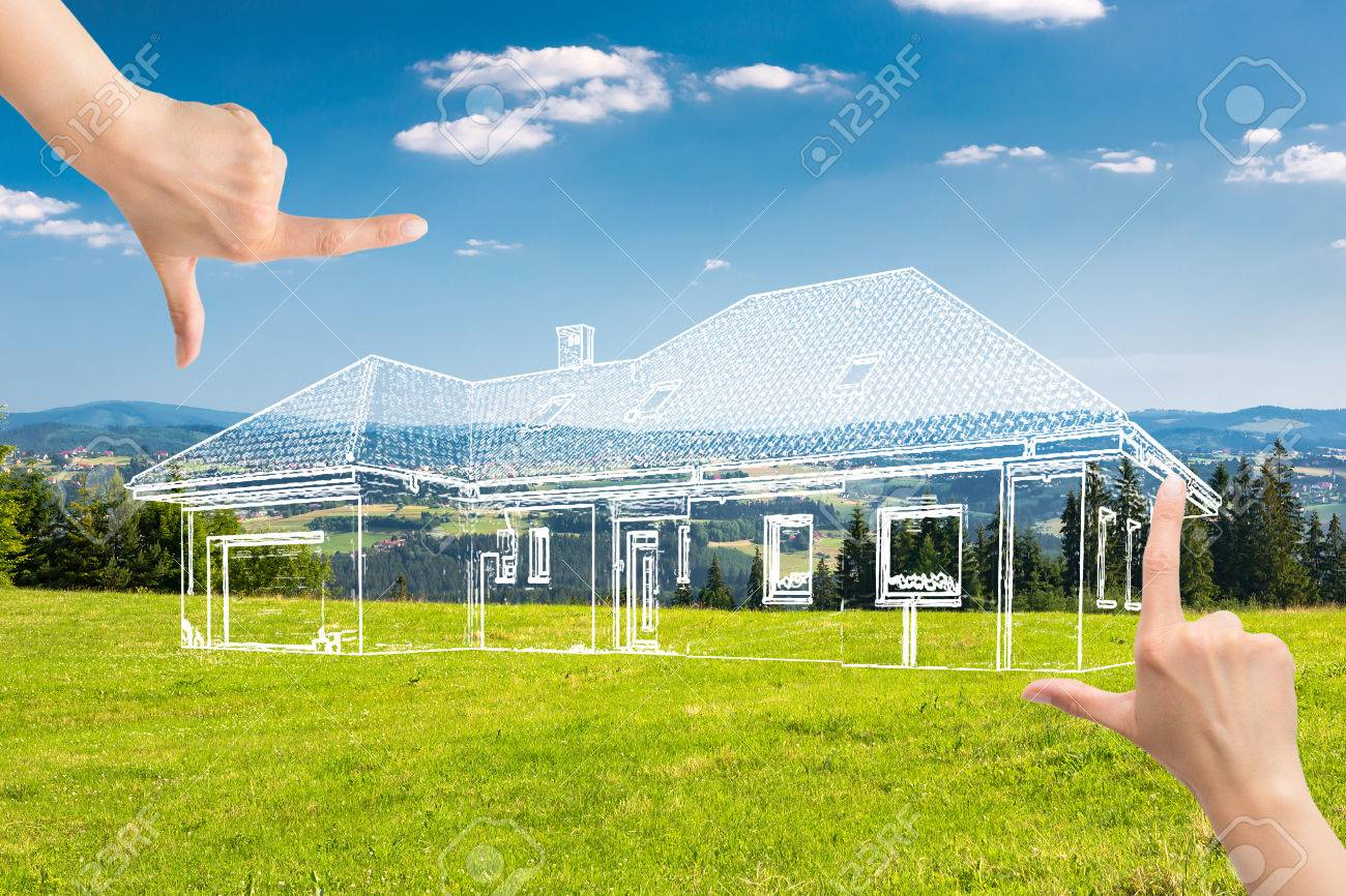 Weibliche Hände Framing Benutzerdefinierten Haus-Design. Kombination ...