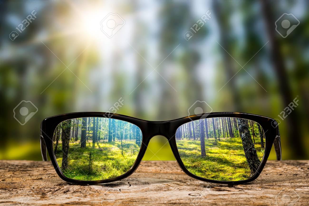 glasses focus background wooden eye vision lens eyeglasses nature