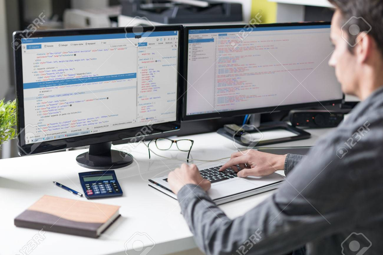 Developing programming and coding technologies. Website design. Cyber space concept. Stock Photo - 75085984