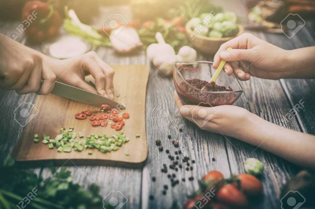 Kochen Gesunden Lebensstil Mahlzeit Essen Frauen Leben Abendessen ...