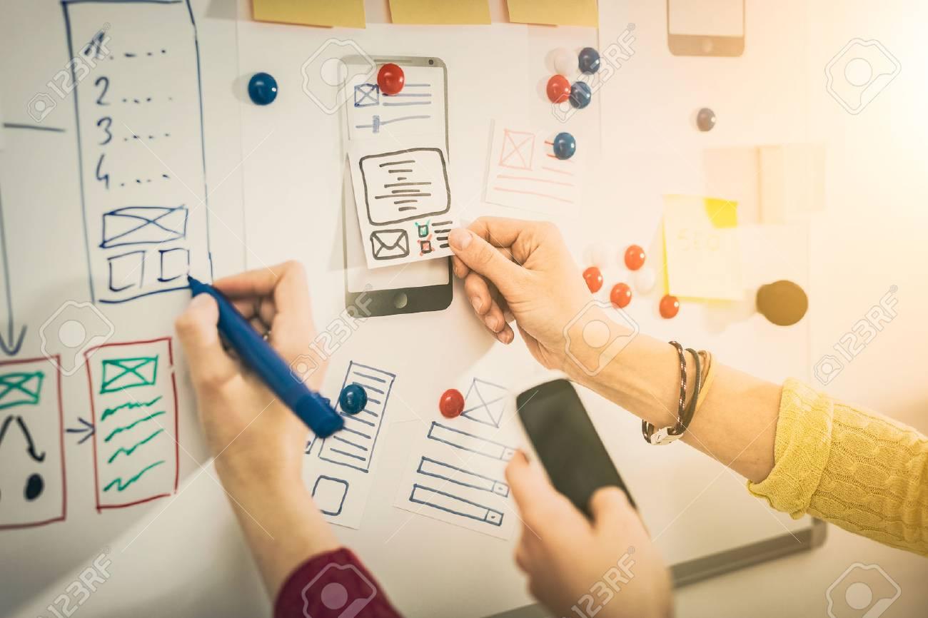 Designer woman drawing website ux app development. User experience concept. - 83536632