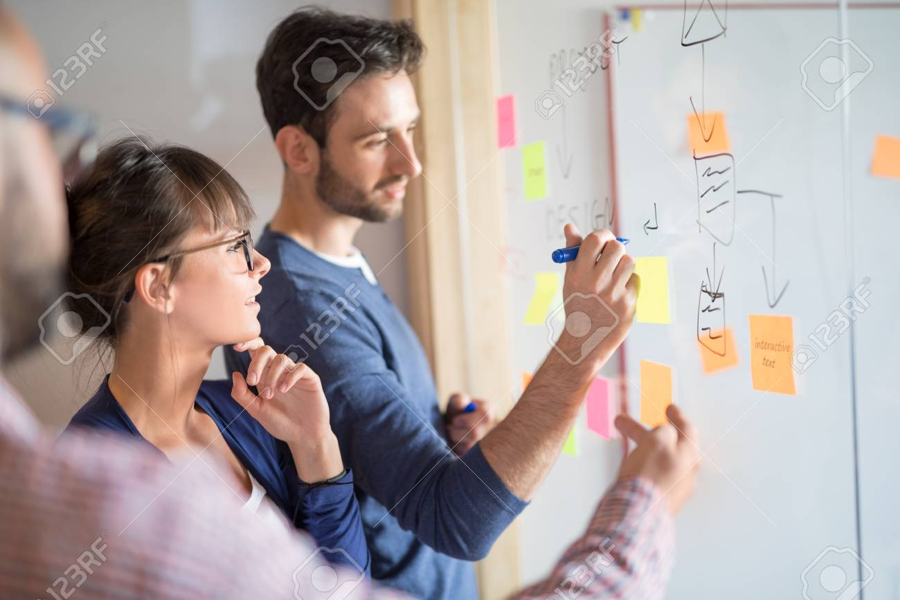 Business people meeting at office and use sticky notes to share idea. Brainstorming concept. Sticky note on glass wall. - 84413137