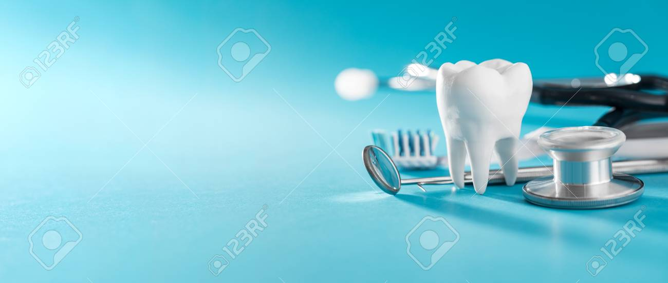 White healthy tooth, different tools for dental care. Dental background. - 111177356