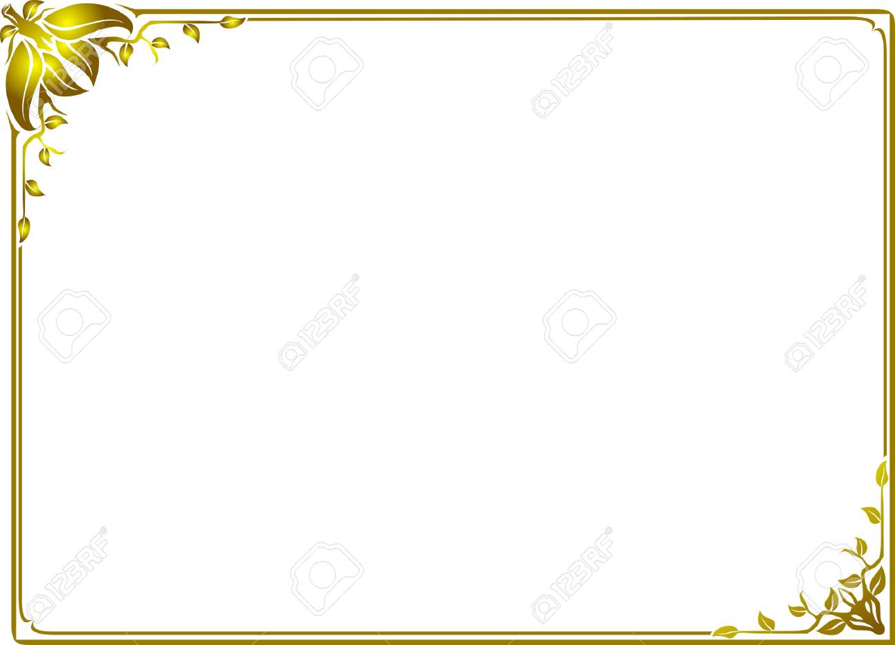 Gold Leaf Frame Floral Royalty Free Cliparts, Vectors, And Stock ...
