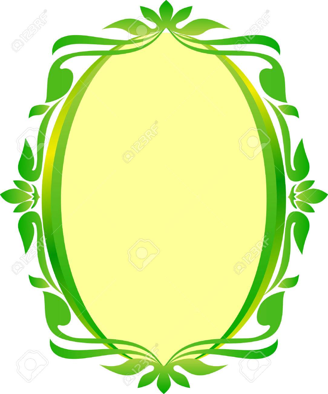 Green Gold Oval Frame Floral Wedding Royalty Free Cliparts Vectors