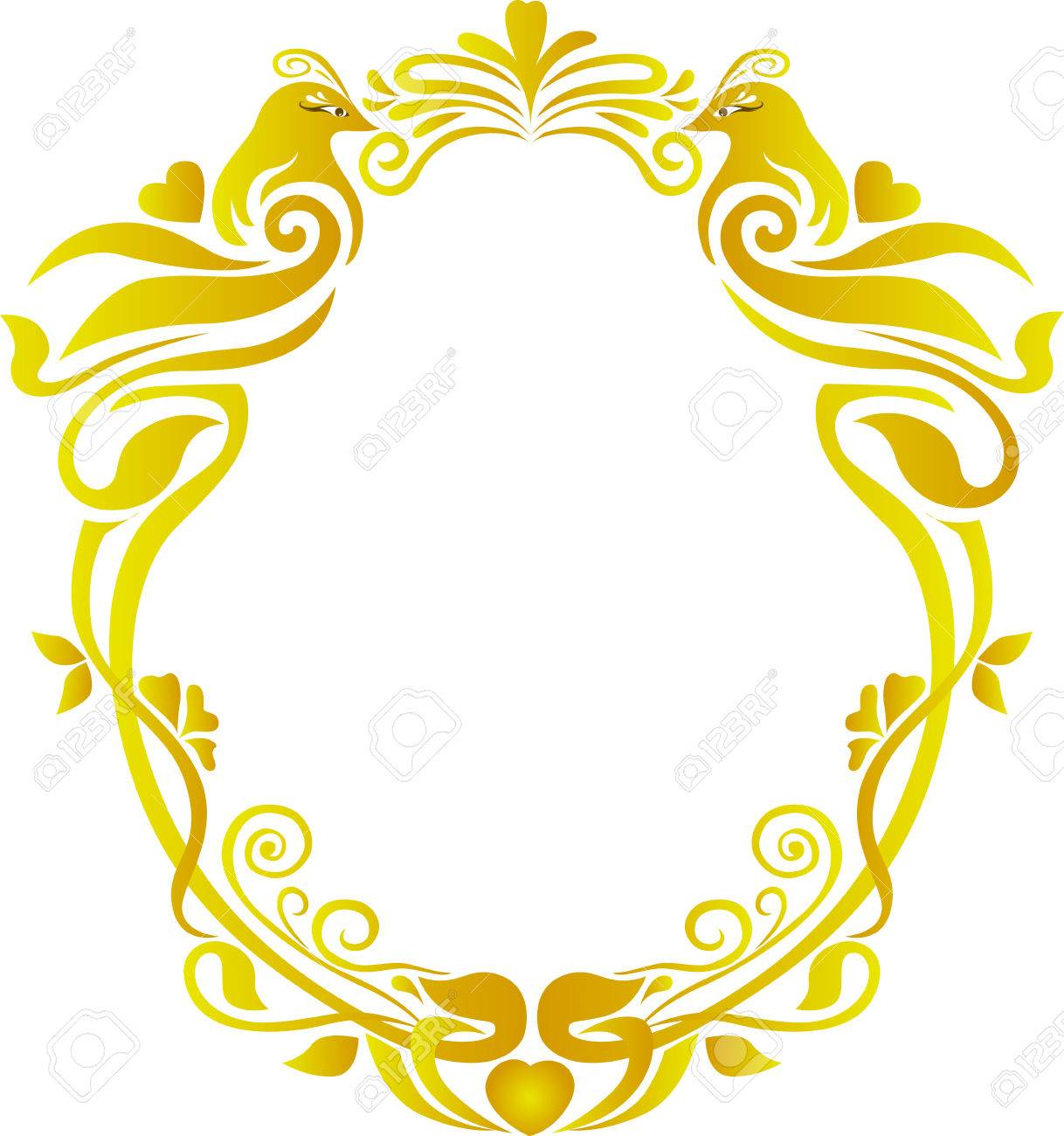 Wedding Gold Oval Frame Floral Royalty Free Cliparts, Vectors, And ...