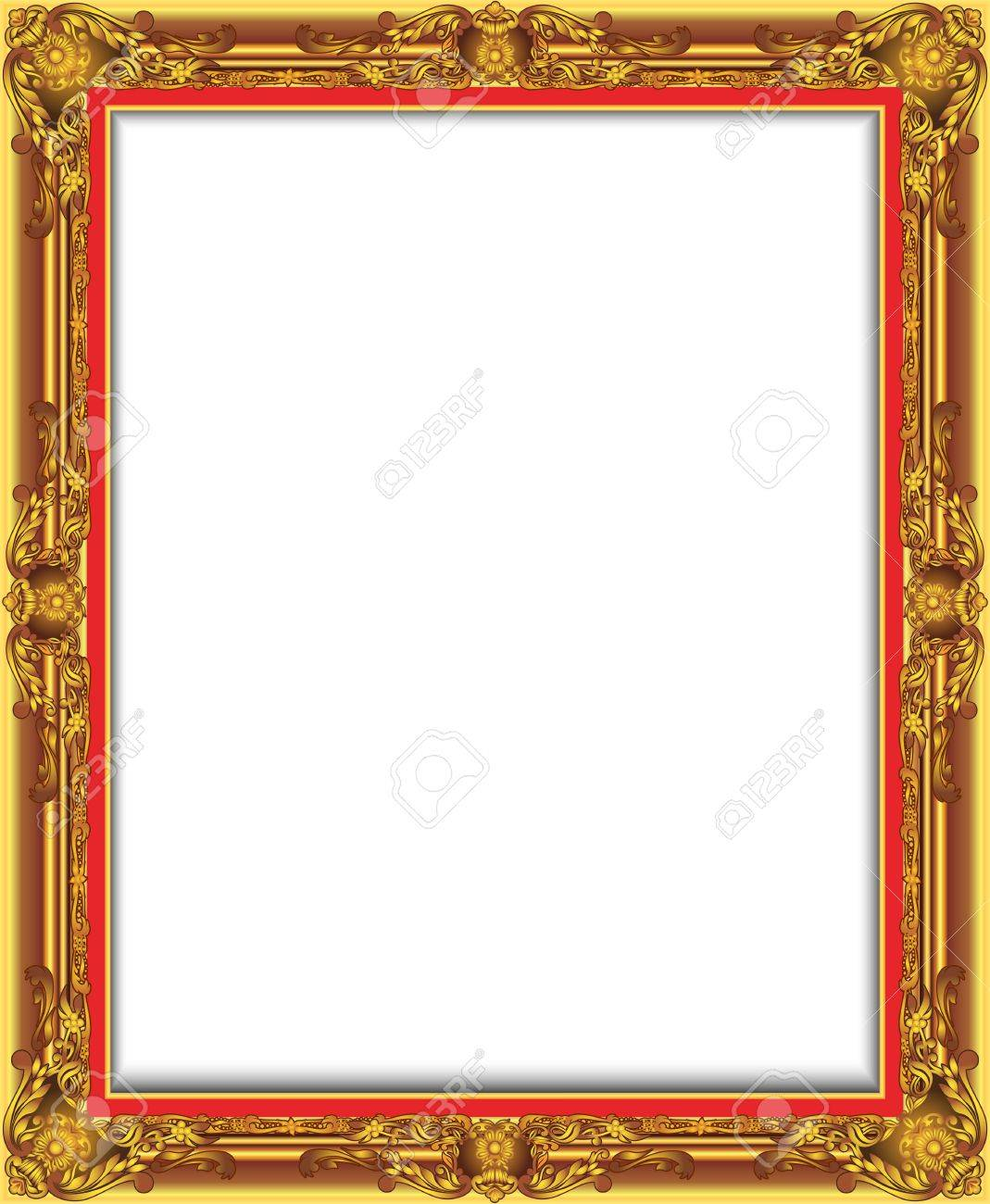 Gold Vintage Frame Decorative Vector With Place For Text Picture Or Design
