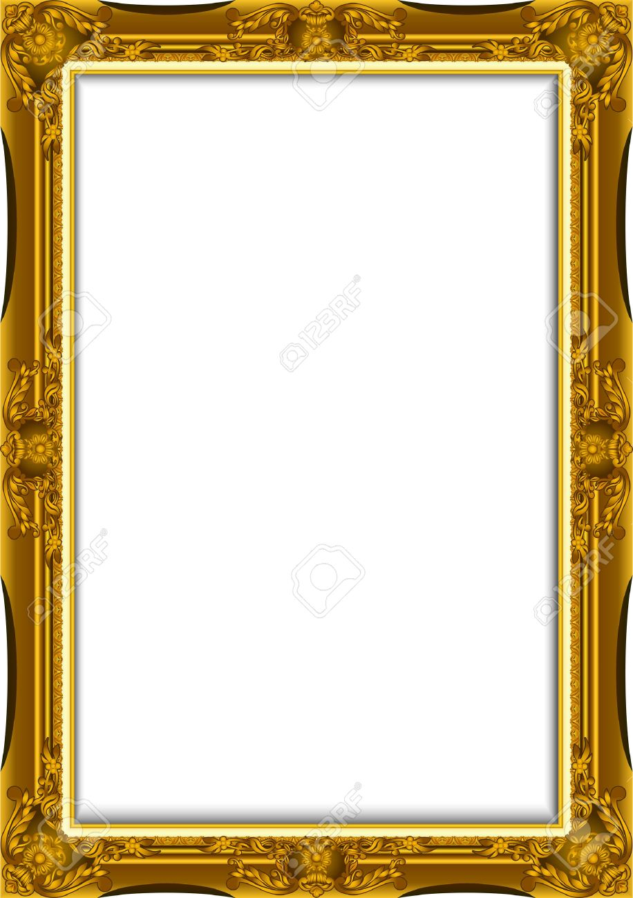 Gold Vintage Frame. Decorative Vector Frame With Place For Text ...