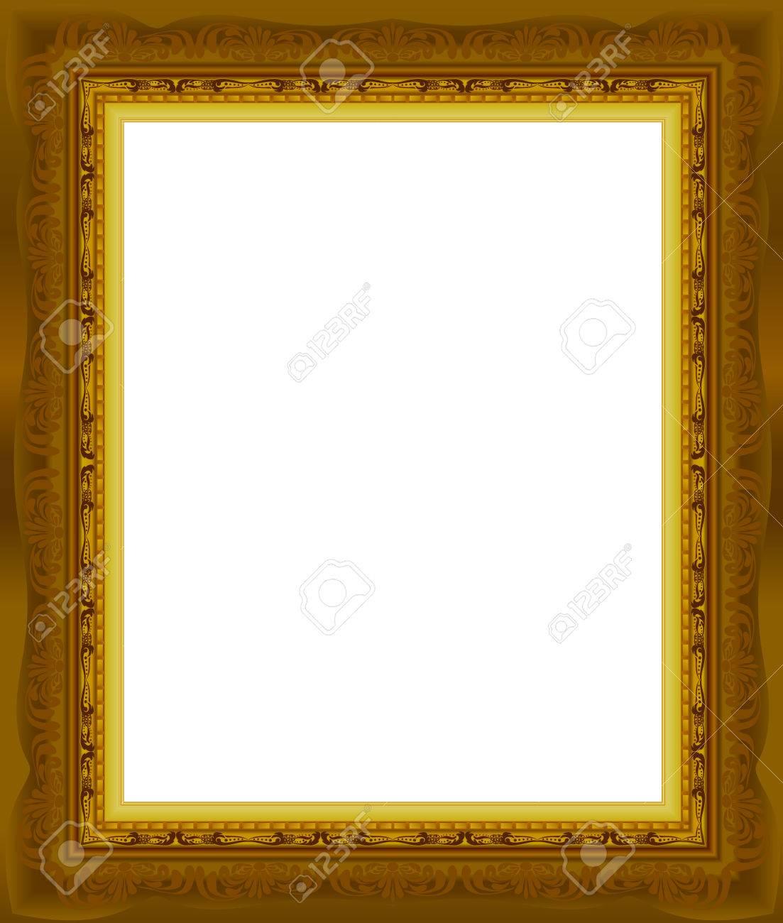 La Madera Del Marco Del Oro Del Cuadro Resumen De Diseño Vectorial ...