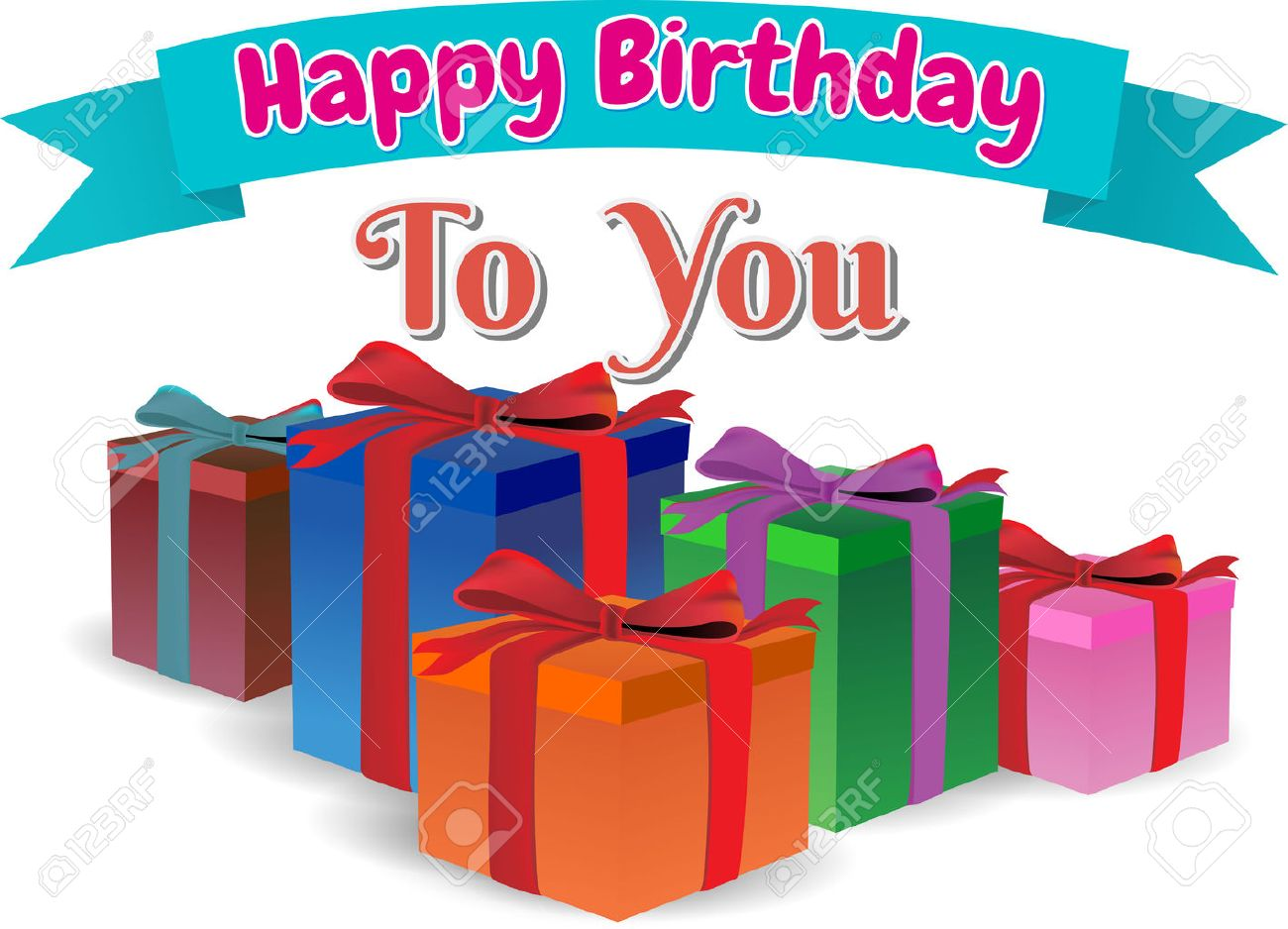 Happy Birthday To You Gift Box Full Colors Text On Ribbon Blue