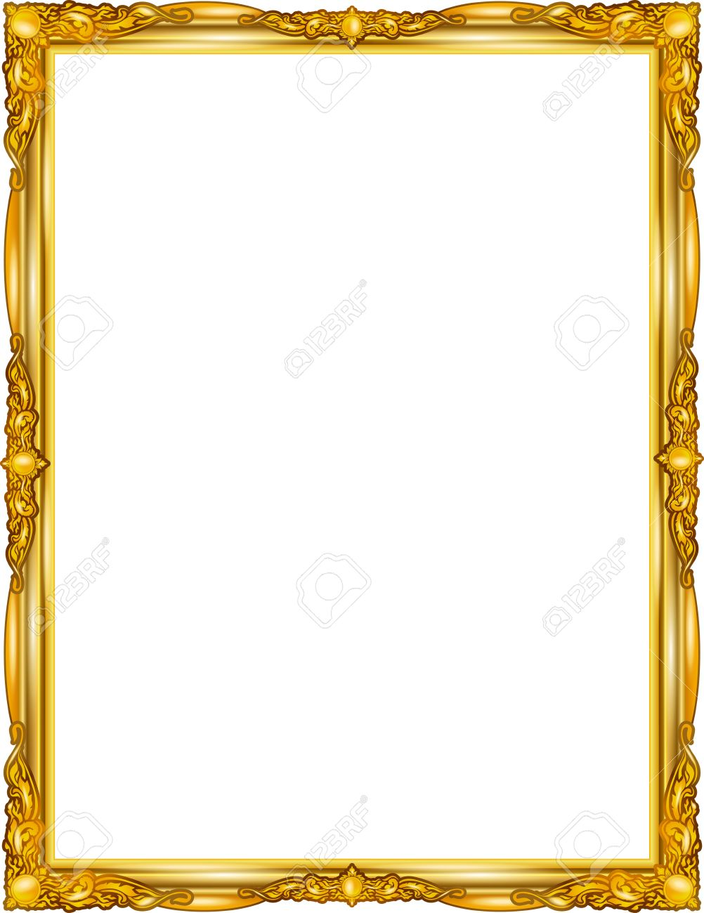 . Gold photo frame with corner line floral for picture  design