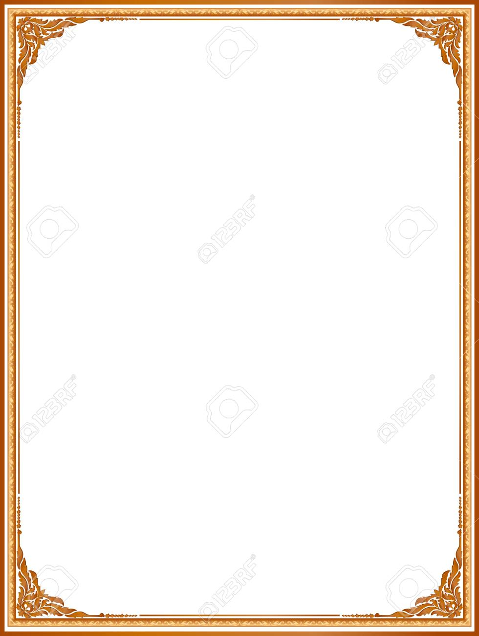 Gold Photo Frame With Corner Line Floral For Picture, Design ...