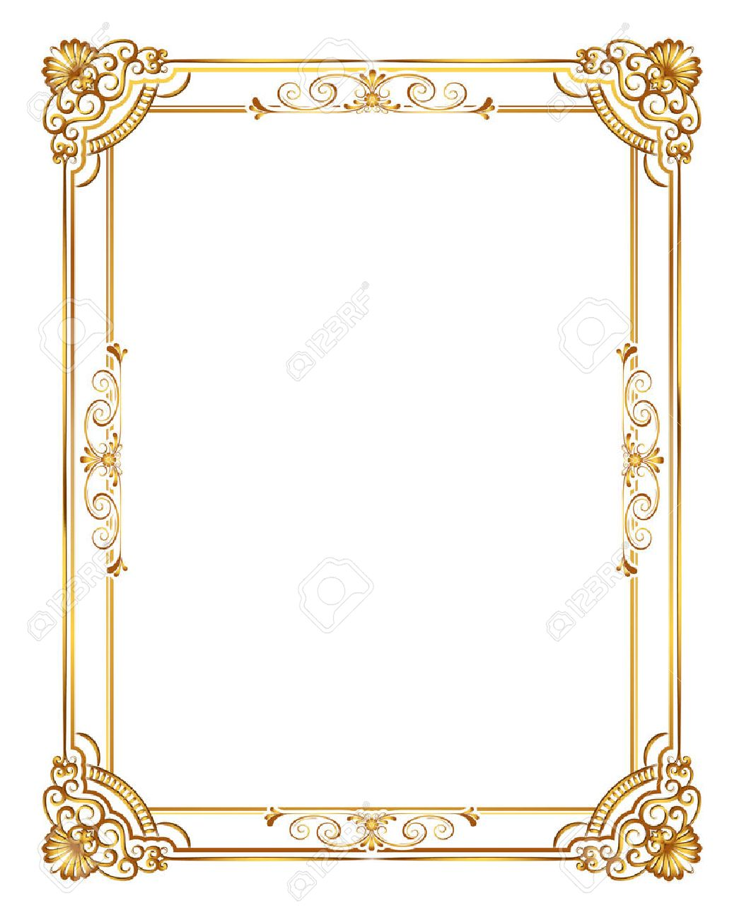 . Gold photo frame with corner line floral for picture  Vector