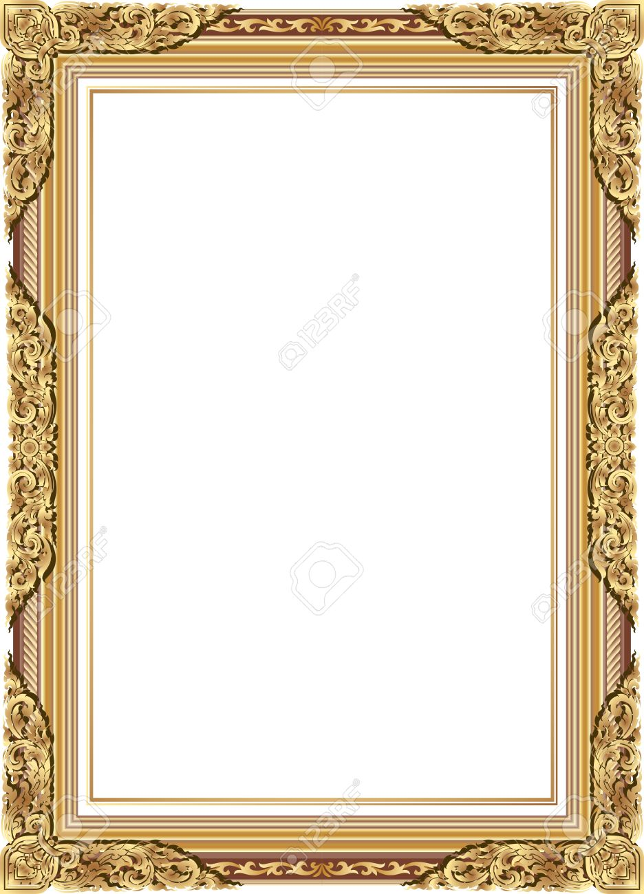 Gold Photo Frame With Corner Line Floral For Picture, Vector ...