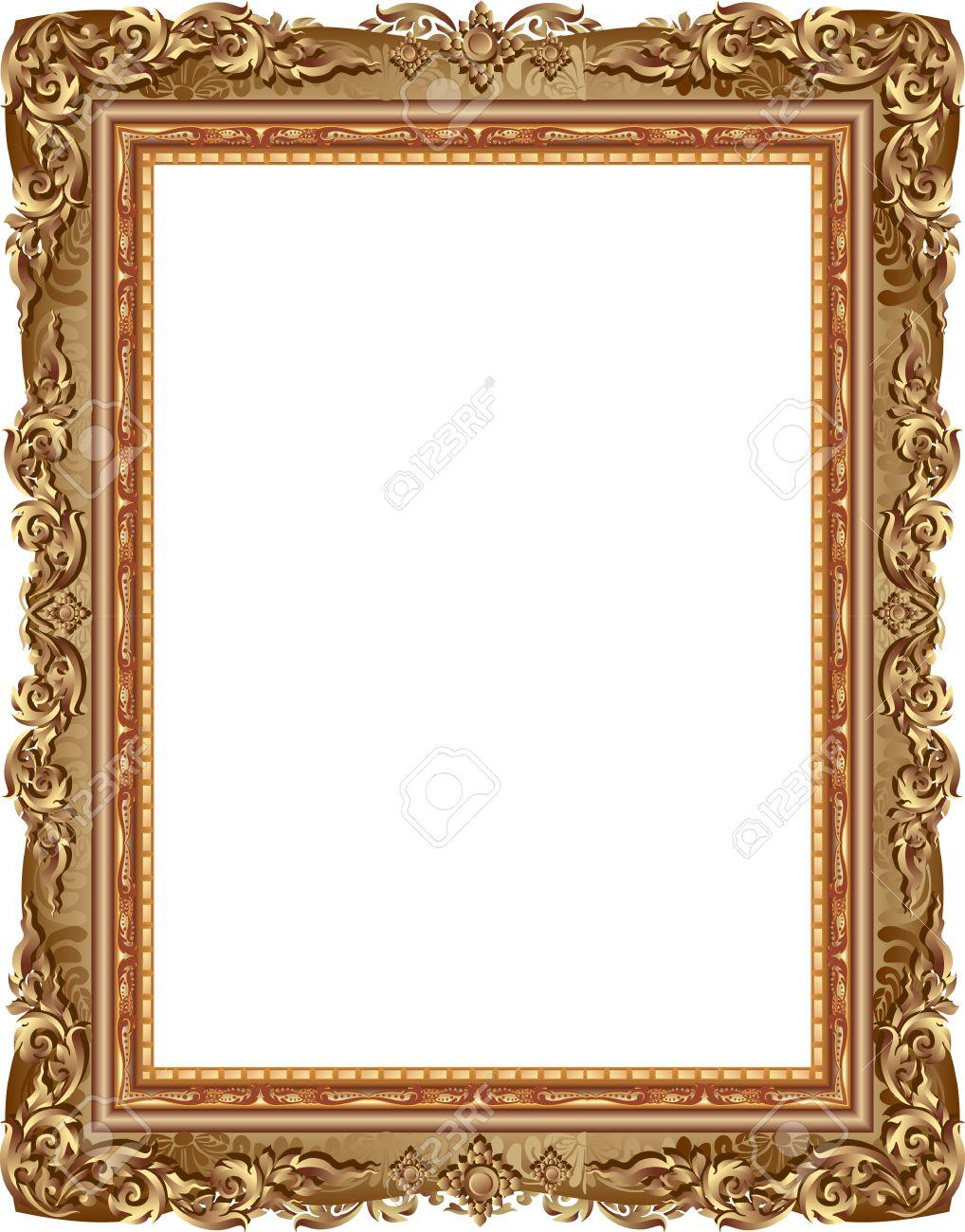 Gold-Bilderrahmen Mit Eckenlinie Blumen Für Bild, Vektor-Frame ...