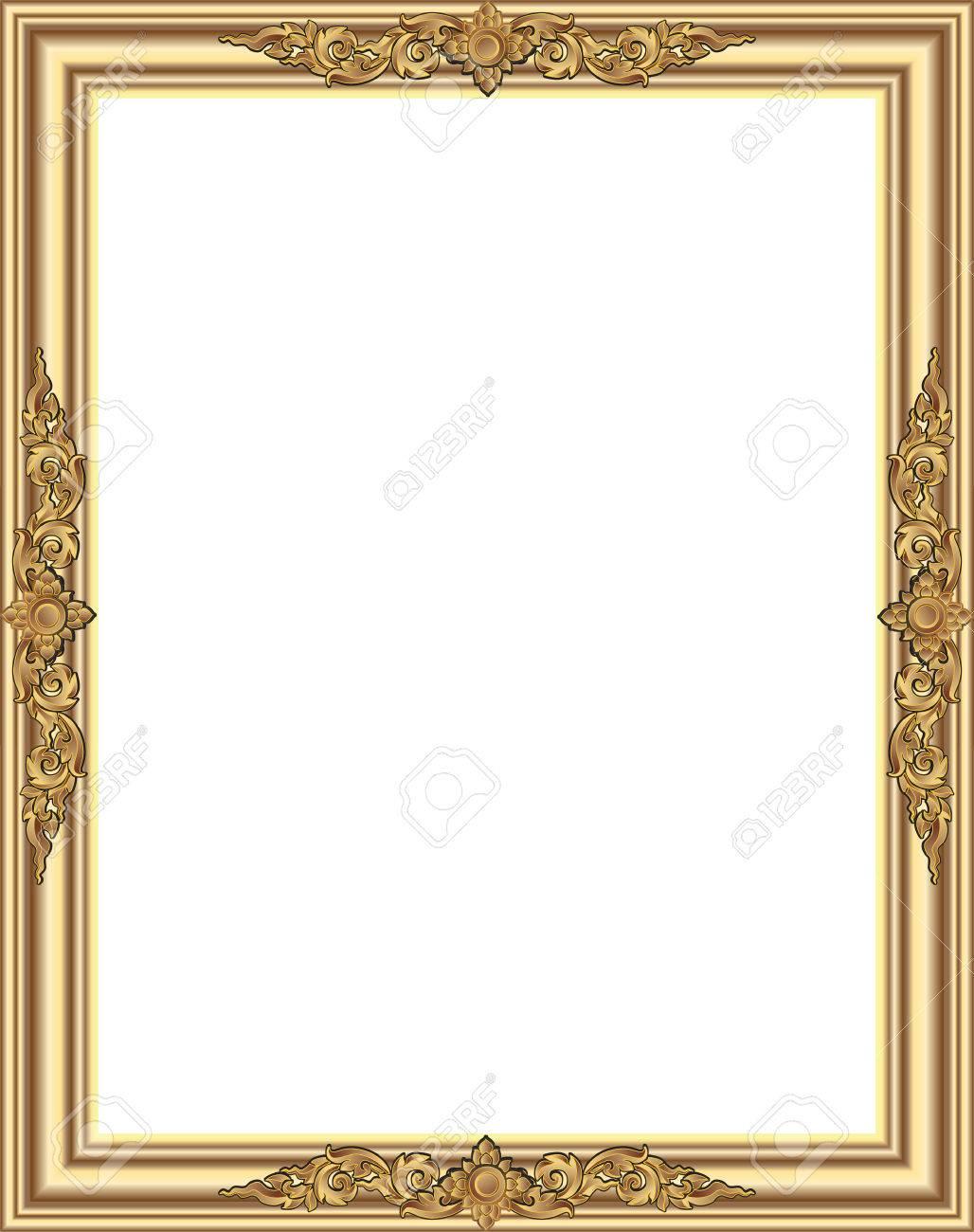 Gold-Bilderrahmen Mit Ecke Blumen Thailand Linie Für Bild, Vektor ...