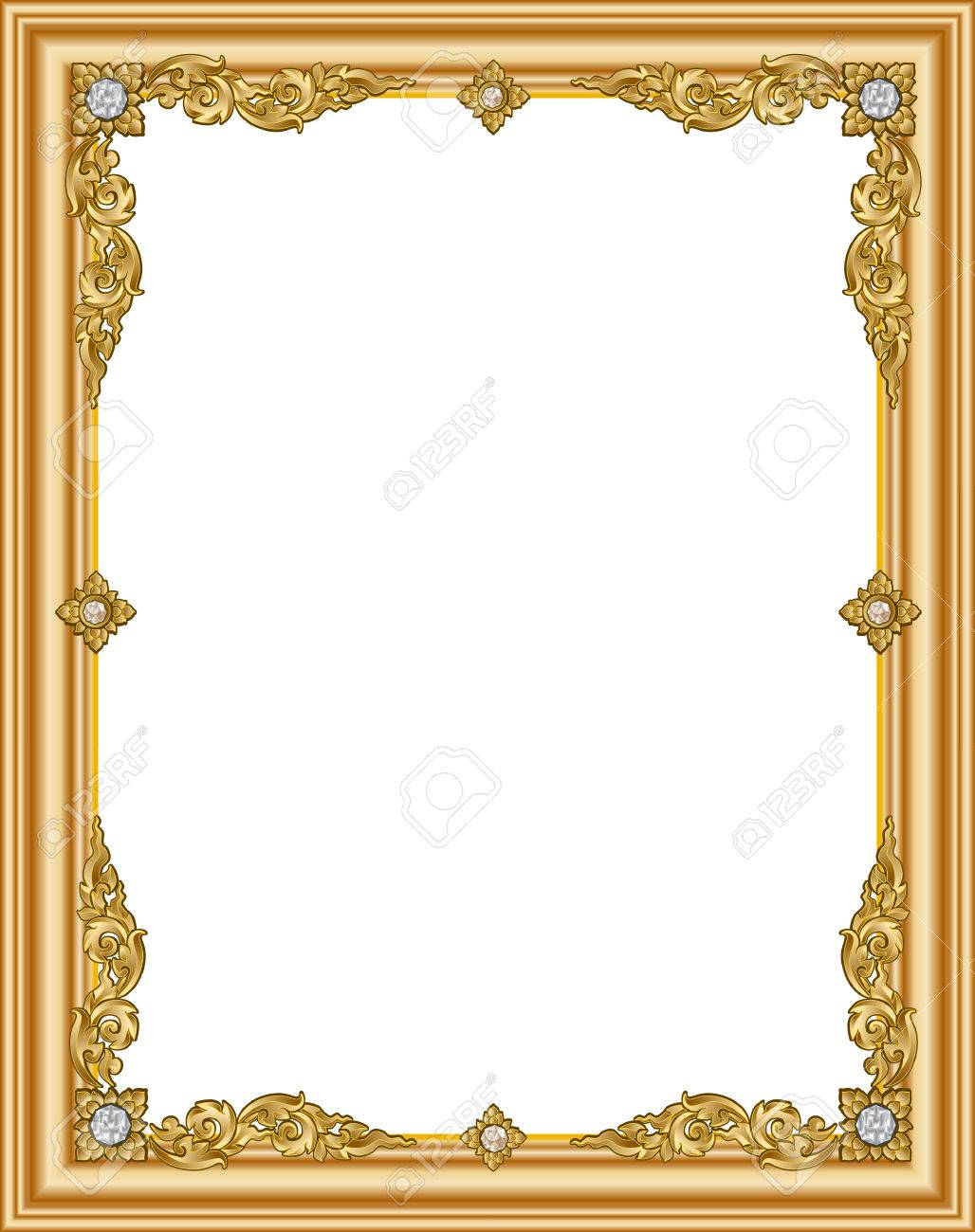 . Gold photo frame with corner thailand line floral for picture
