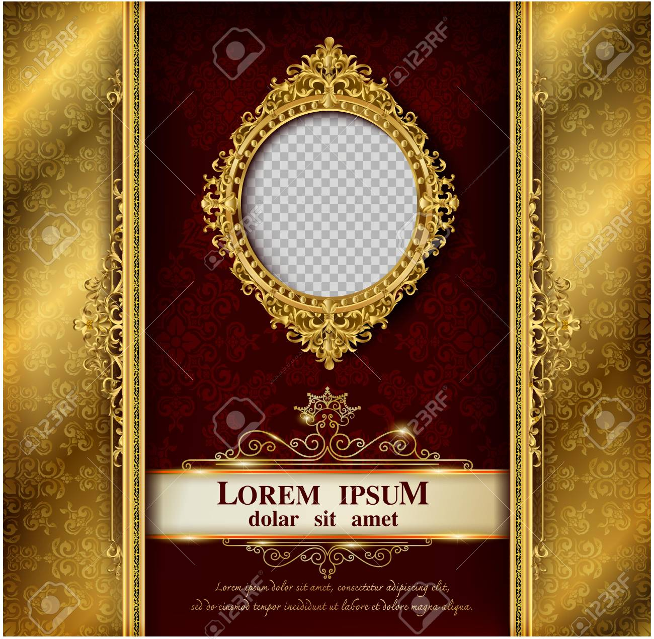 Decorative vintage frames and borders set,Gold photo frame with corner Thailand line floral for picture, Vector design decoration pattern style. border design is pattern Thai art style - 105837729