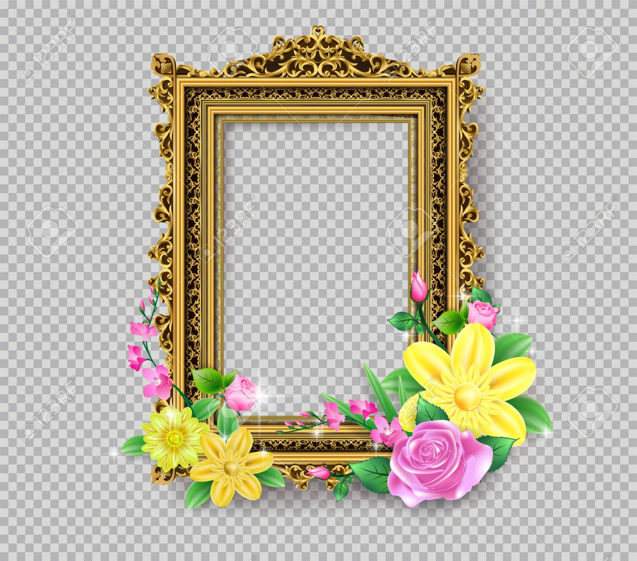 Decorative Vintage Frames And Borders Set Gold Photo Frame With