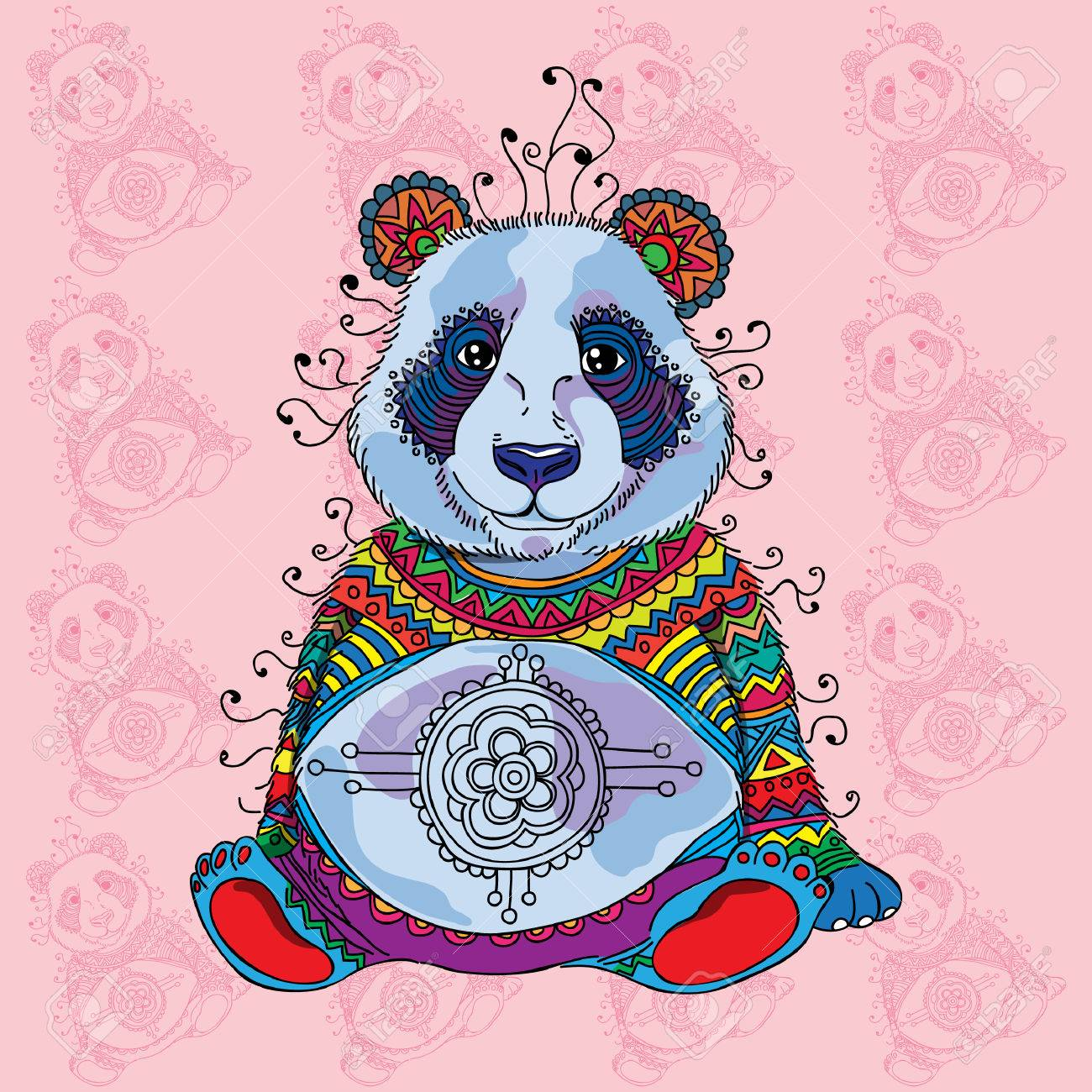 abstract colorful panda on rose background royalty free cliparts