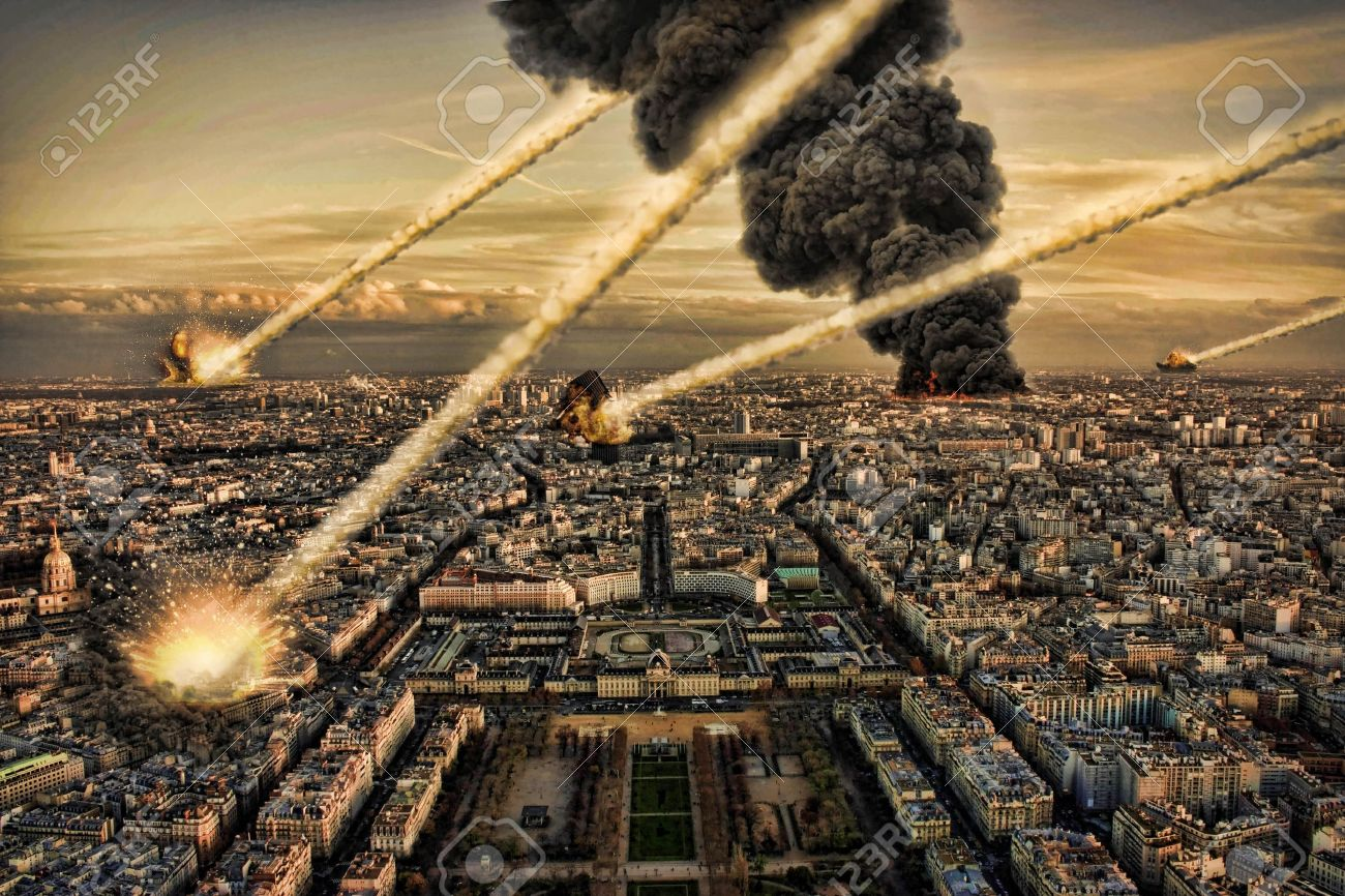 Day of the apocalypse over Paris France Eiffel Tower - 14975096