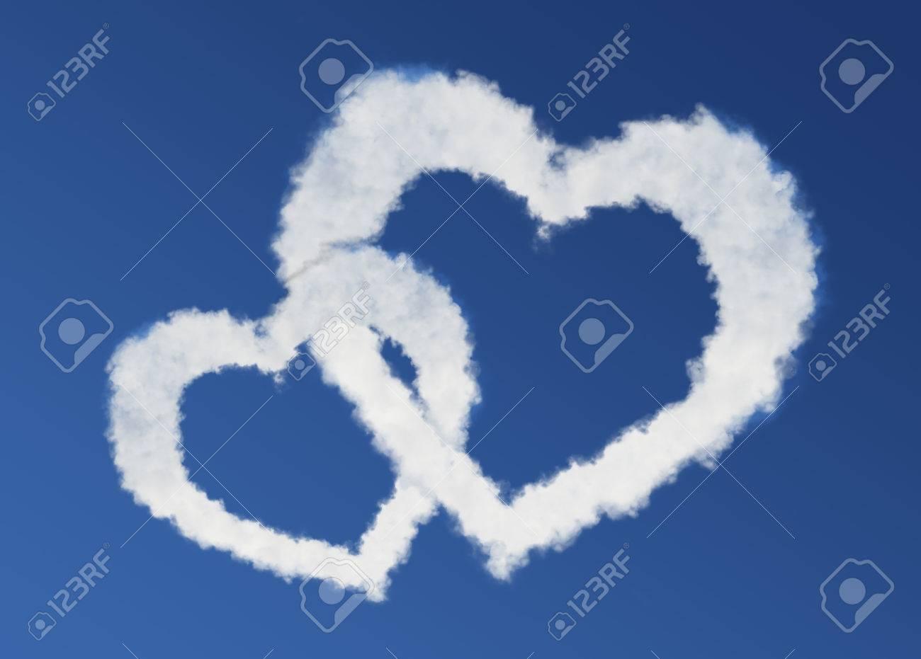Nubes Hermoso Corazón Que Representan El Amor Para El Día De San