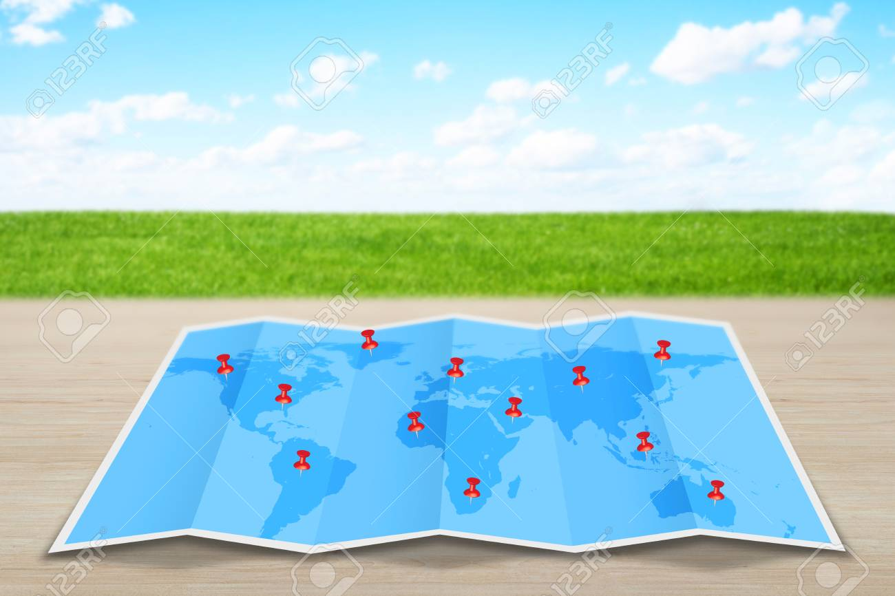 Pin map marker pointer icon on a blue world map stock photo picture pin map marker pointer icon on a blue world map stock photo 44355096 gumiabroncs Choice Image