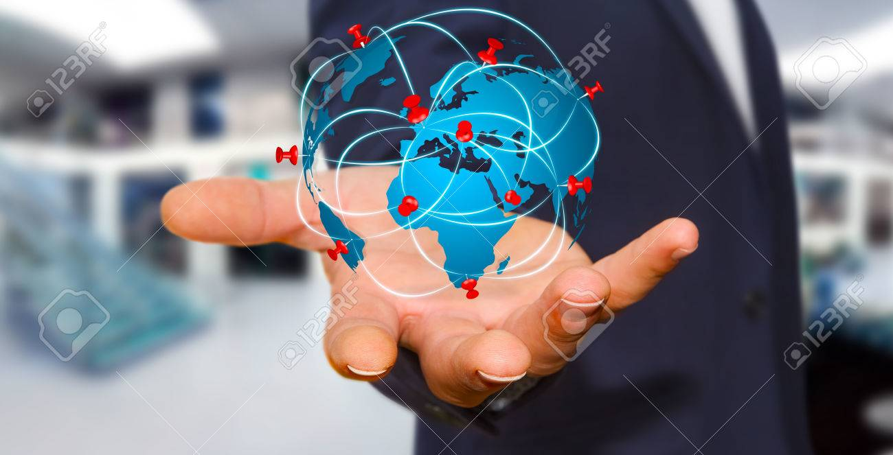 Businessman with digital world map and pins floating over his businessman with digital world map and pins floating over his hand stock photo 52625917 gumiabroncs Choice Image