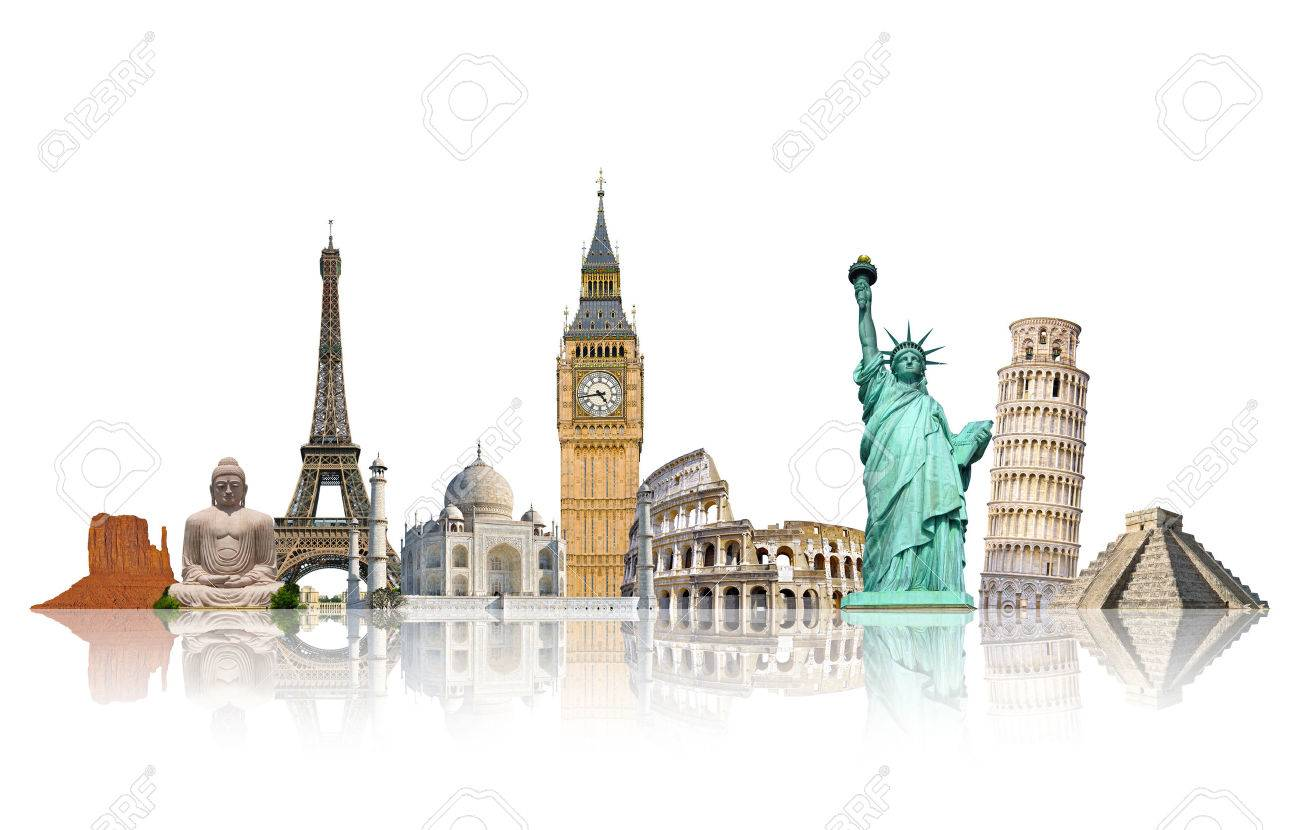 Famous monuments of the world grouped together on white background - 52626240