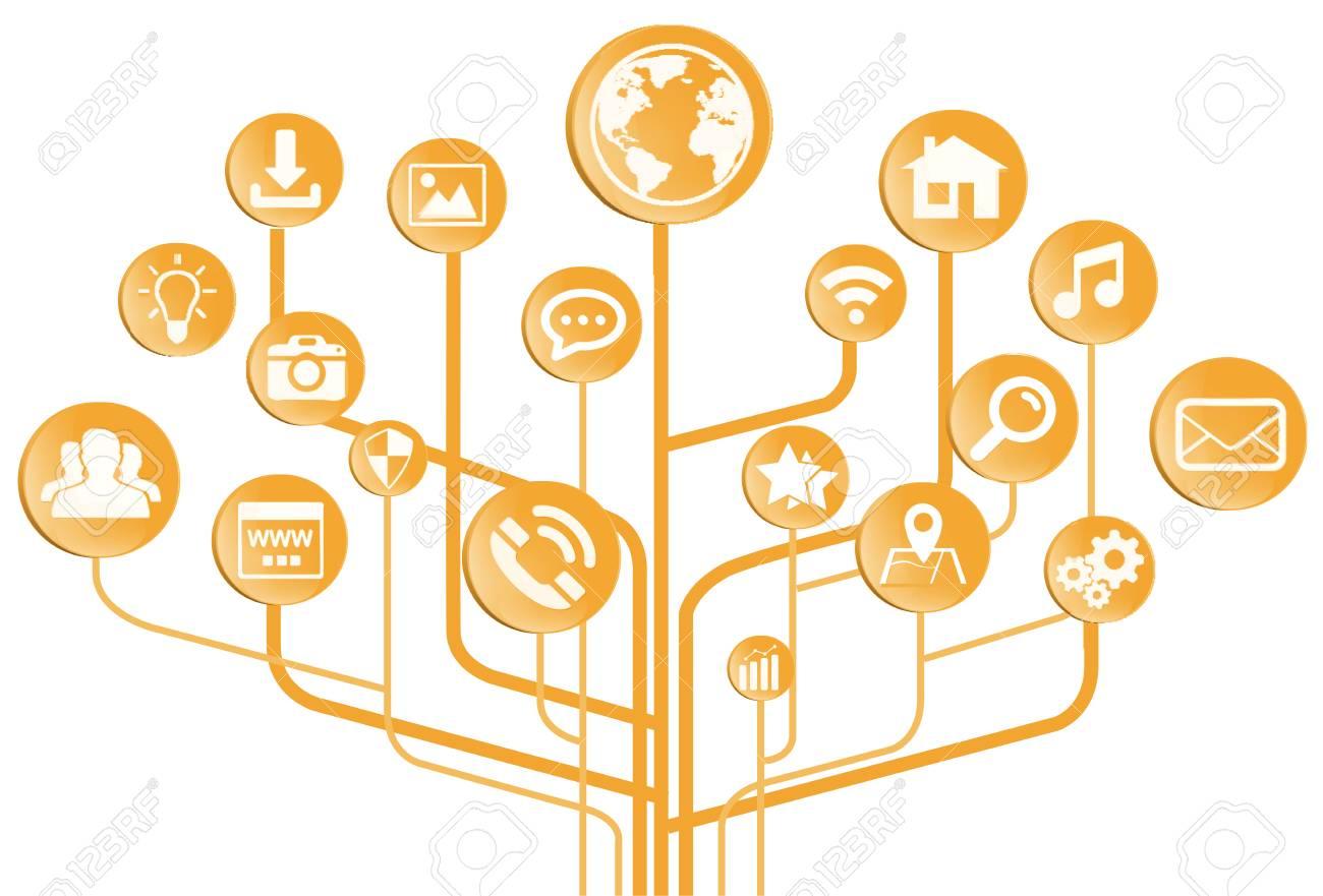 Orange Moderne Digitale Elektronische Schaltung Mit Symbolen Auf ...
