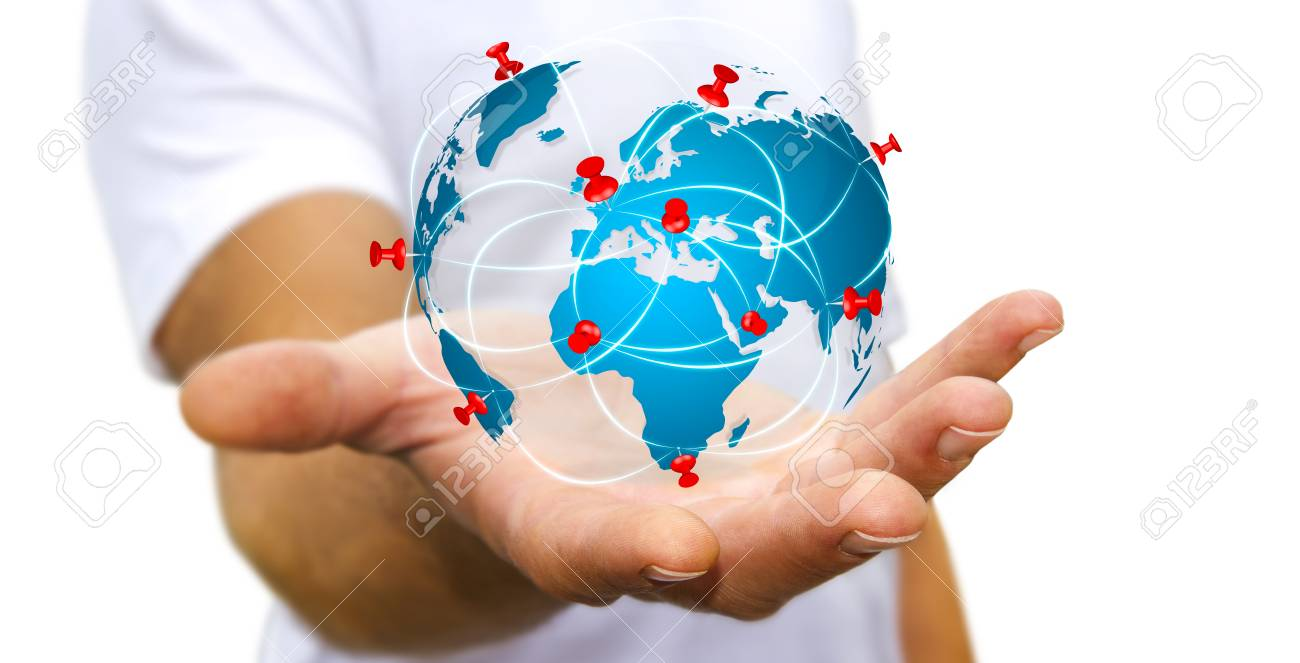 Businessman with digital world map and pins floating over his businessman with digital world map and pins floating over his hand stock photo 62141352 gumiabroncs Choice Image