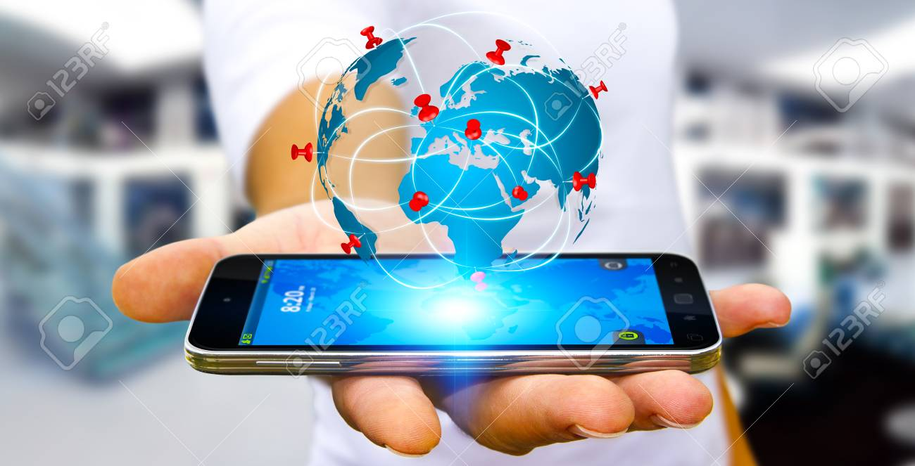 Businessman with digital world map and pins floating over his businessman with digital world map and pins floating over his mobile phone stock photo 62417599 gumiabroncs