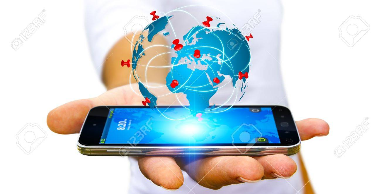 Businessman with digital world map and pins floating over his businessman with digital world map and pins floating over his mobile phone stock photo 62417608 gumiabroncs Choice Image