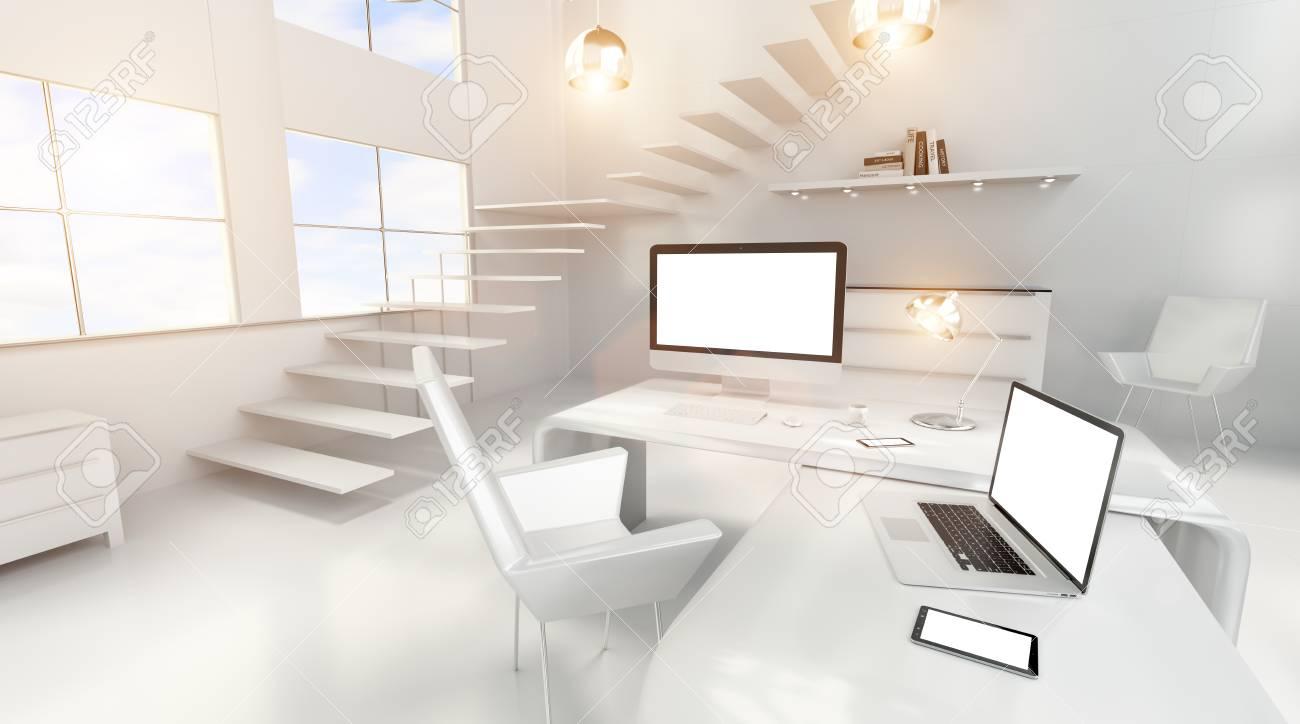 Intérieur bureau blanc moderne avec des appareils numériques