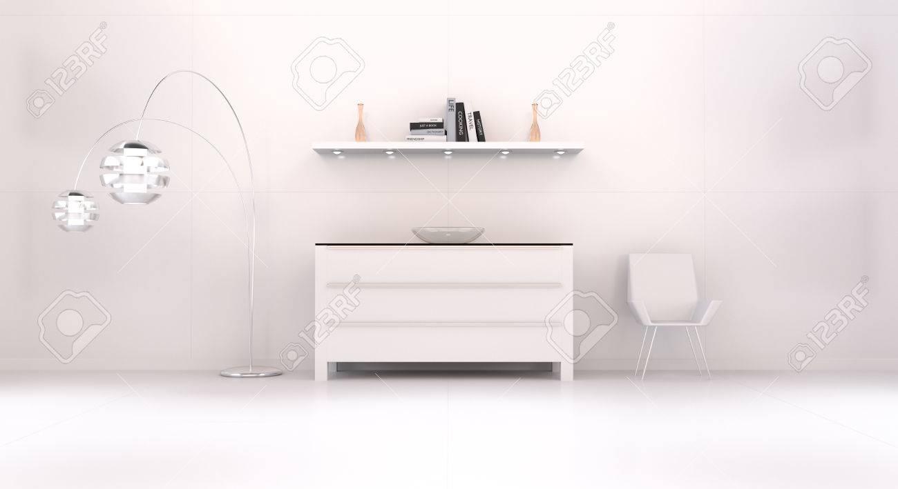 Moderne Weisse Orange Innenraum Mit Kommode Regal Licht Und Stuhl 3d
