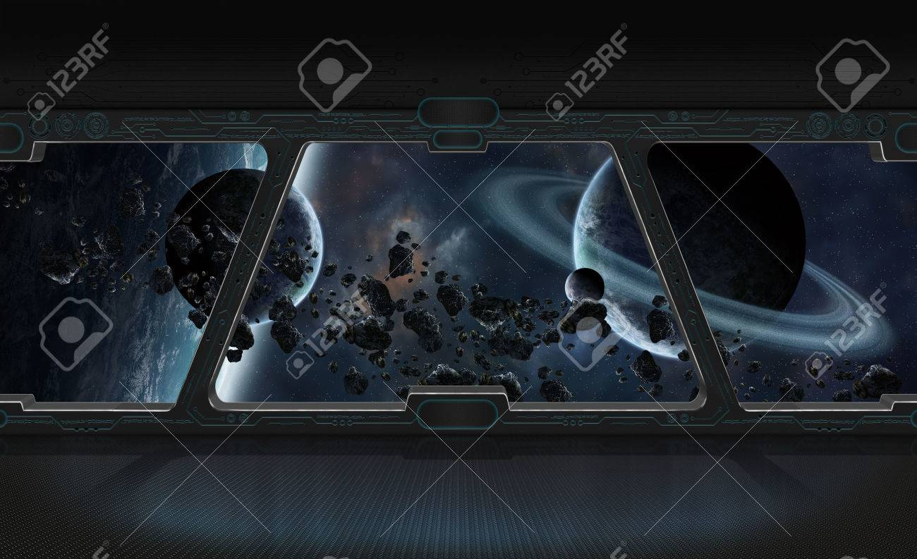 Window view of space and planets from a space station 3D rendering - 70456055