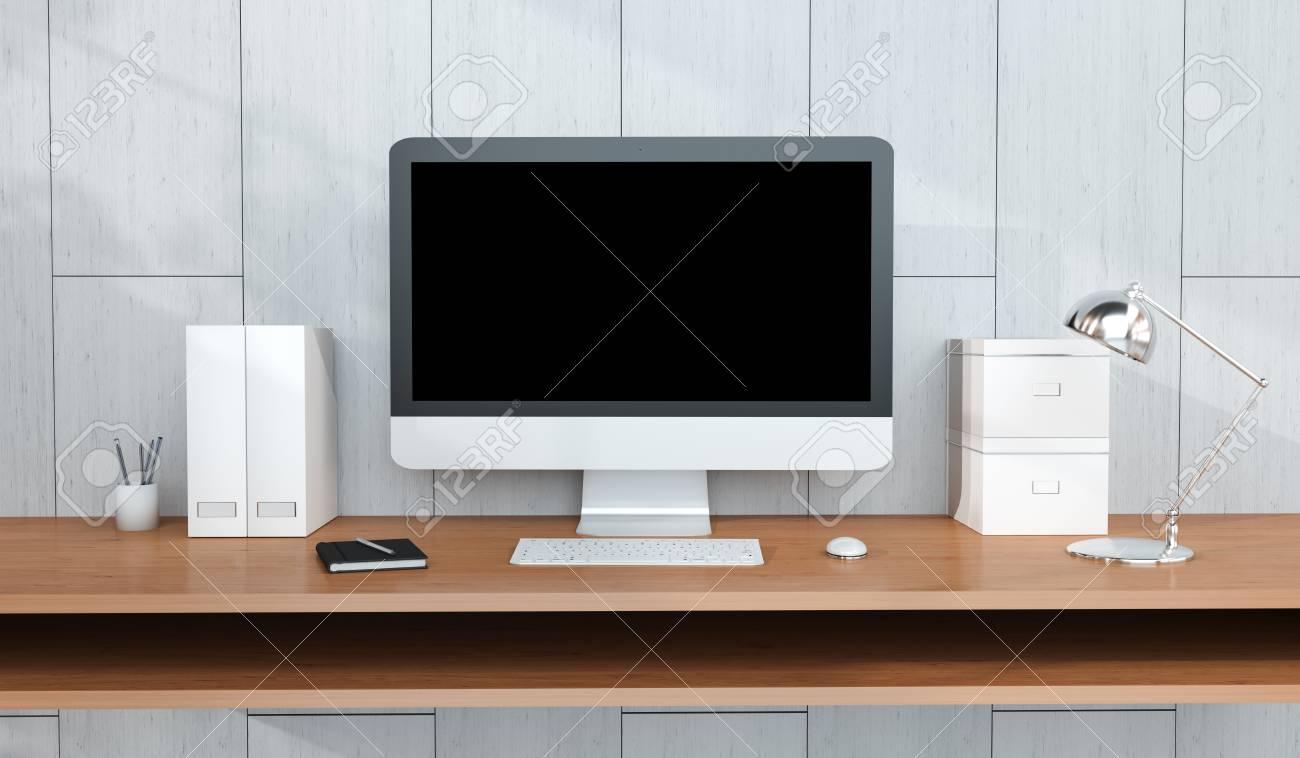 Intérieur de travail moderne en bois avec ordinateur et appareils