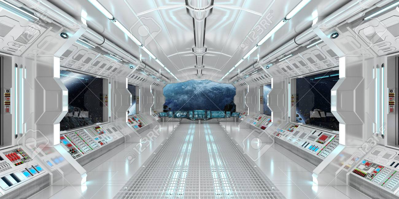 Spaceship interior with view on space and distant planets system