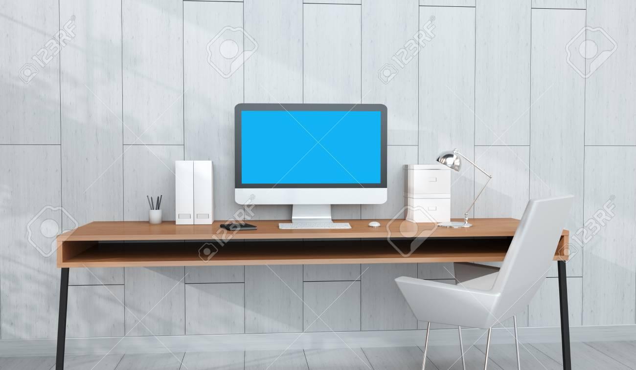 Intérieur de travail moderne en bois avec ordinateur et