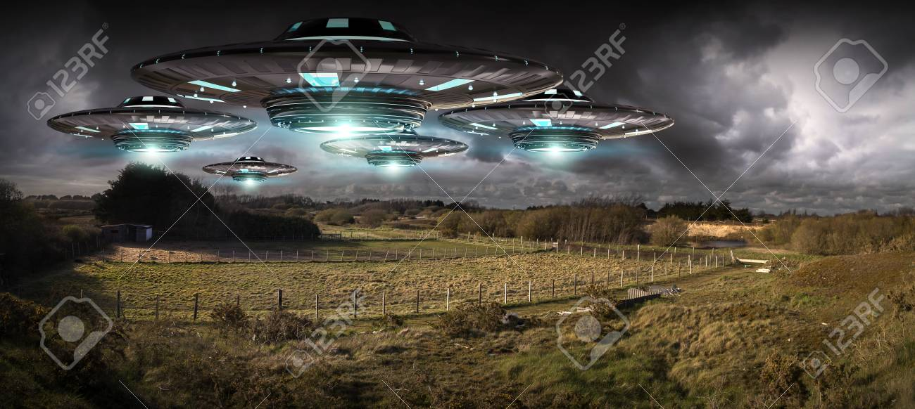 metal and silver ufo invasion on planet earth landascape 3d