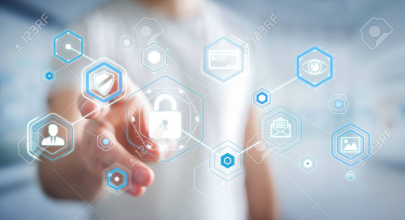 Businessman on blurred background using antivirus to block a cyber attack 3D rendering - 80555536