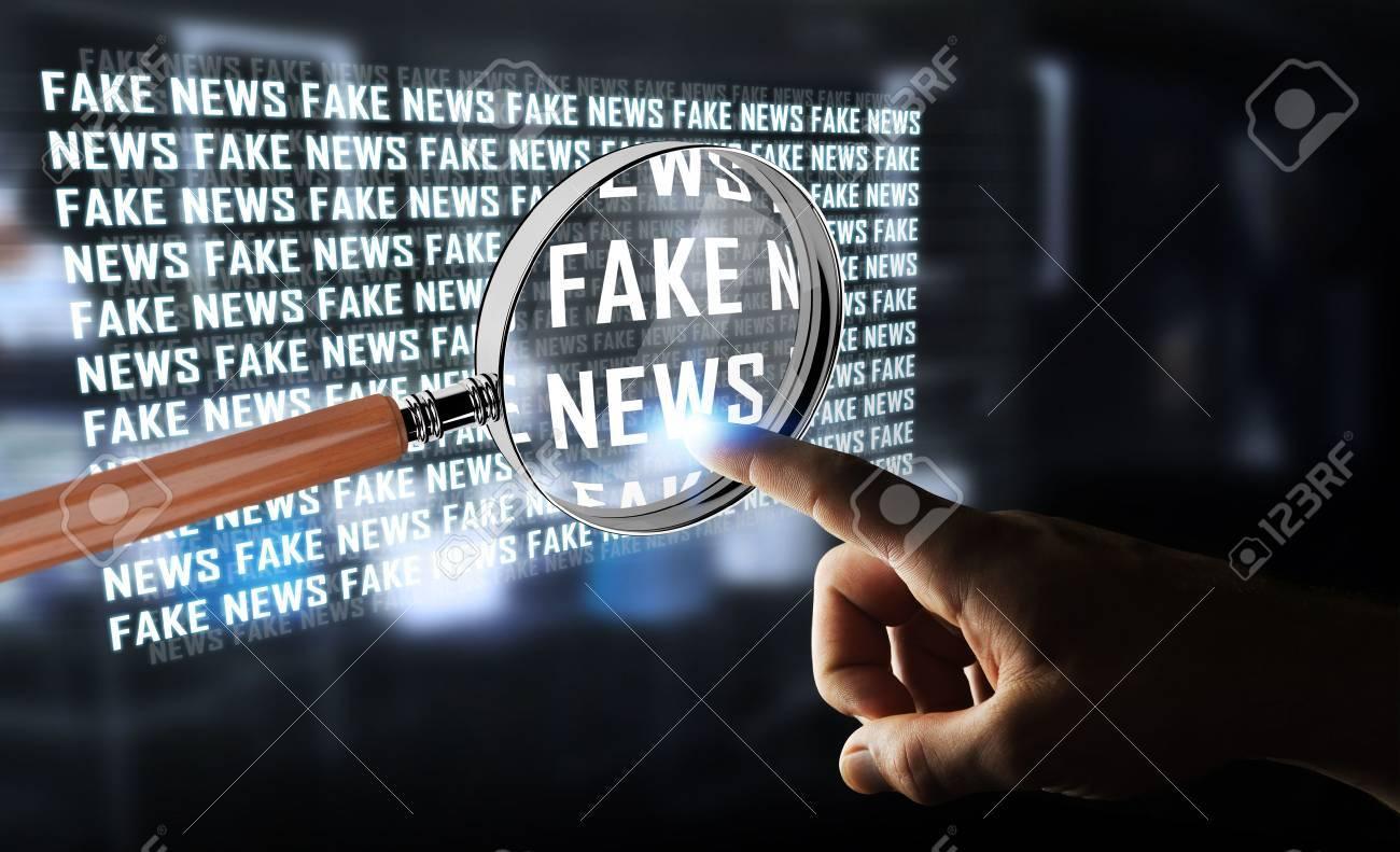 Businessman on blurred background discovering fake news information 3D rendering - 80949508