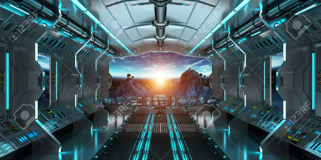 Spaceship Interior With View On Space And Planet Earth 3D Rendering  Elements Of This Image Furnished